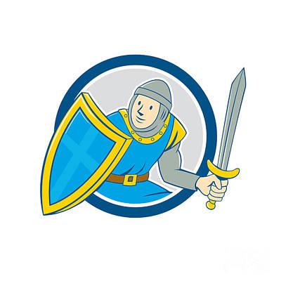 Medieval Knight Shield Sword Circle Cartoon Print by Aloysius Patrimonio