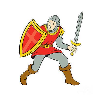 Medieval Knight Shield Sword Standing Cartoon Print by Aloysius Patrimonio