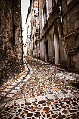 Historic Buildings Photograph - Medieval Street In France by Elena Elisseeva