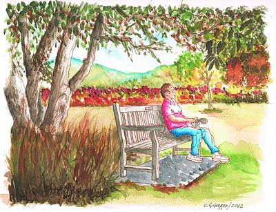 Window Bench Painting - Meditating In The Arboretum In Arcadia - California by Carlos G Groppa