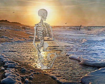 Human Skeleton Photograph - Meditative Morning by Betsy Knapp