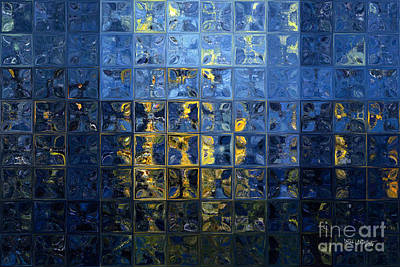 Limited Edition Painting - Mediterranean Blue. Modern Mosaic Tile Art Painting by Mark Lawrence