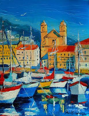 Mediterranean Harbor Print by Mona Edulesco
