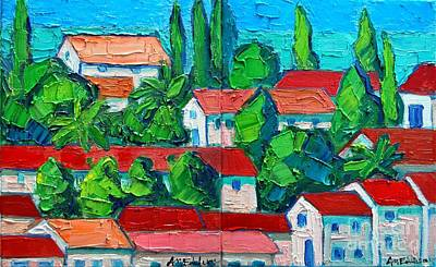 Montenegro Painting - Mediterranean Roofs 3 4 by Ana Maria Edulescu