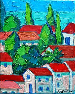 Montenegro Painting - Mediterranean Roofs 4 by Ana Maria Edulescu