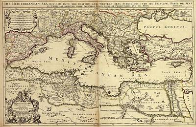 Mediterranean Sea Print by Library Of Congress, Geography And Map Division