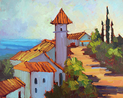 Construction Painting - Mediterranean Village Costa Del Sol by Diane McClary
