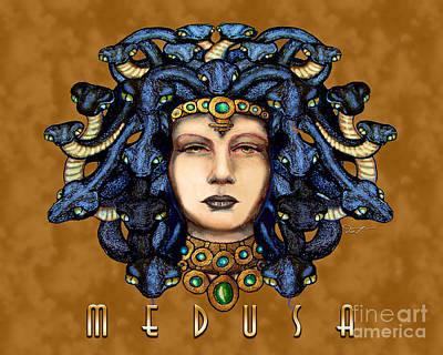 Gorgon Drawing - Medusa 2 Gold by Dia T