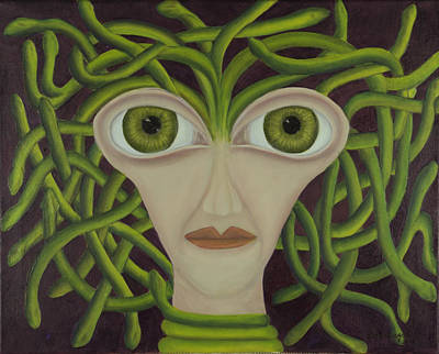 Medusa In Purple Print by Coqle Aragrev