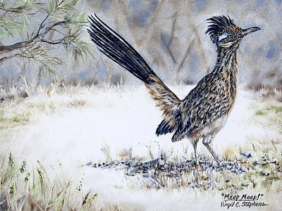 Roadrunner Drawing - Meep Meep by Virgil Stephens