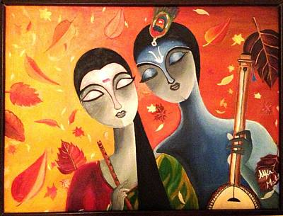 Veena Painting - Meerabai And  Krishna by Alka  Malik
