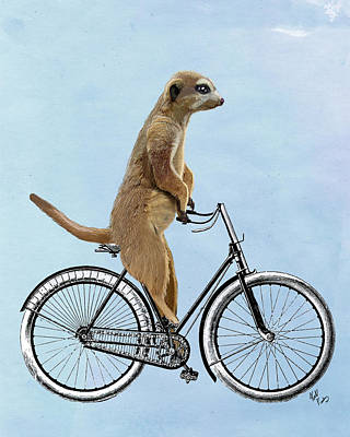 Meerkat Digital Art - Meerkat On A Bicycle by Loopylolly