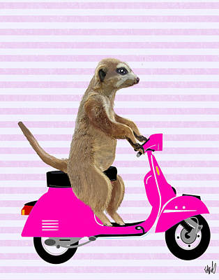 Meerkat Digital Art - Meerkat On A Pink Moped by Kelly McLaughlan