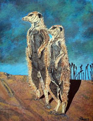 Meerkat Painting - Meerkats by Teresa  Peterson