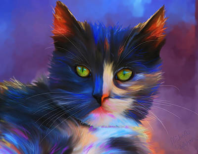 Pet Portraits Digital Art - Meesha Colorful Cat Portrait by Michelle Wrighton