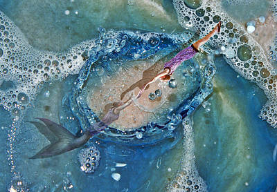 Turbulent Digital Art - Meeting At The Surface by Betsy Knapp