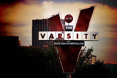 American City Scene Photograph - Meeting At The Varsity - Atlanta Icons by Mark E Tisdale