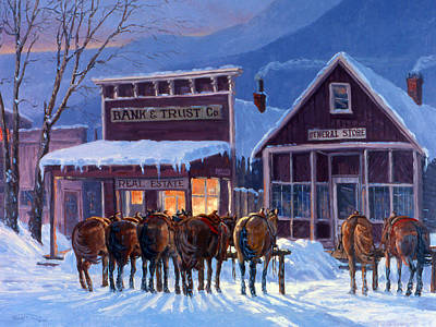 Winter Street Painting - Meeting Of The Board by Randy Follis