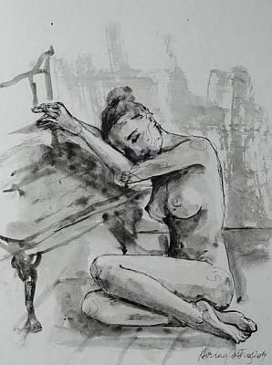 Figures Mixed Media - Melancholy by Dorina  Costras