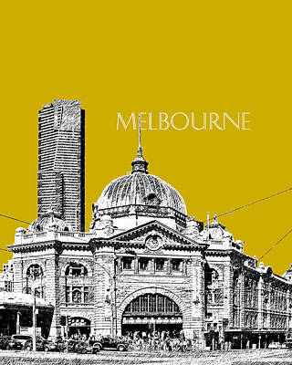 Pen Digital Art - Melbourne Skyline 2 Flinders Street Station - Gold by DB Artist