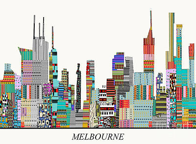 Colorfull Painting - Melbourne Skyline by Bri B