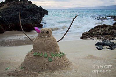Hula Girl Art Photograph - Mele Kalikimaka Merry Christmas From Paako Beach Maui Hawaii by Sharon Mau