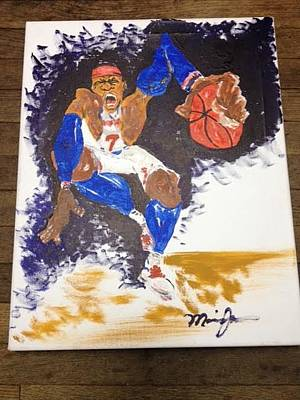 New York Knicks Painting - Melo by Maurice Jackson