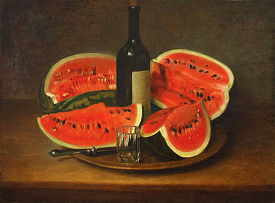 Painted Wine Glass Painting - Melon Platter by Mountain Dreams