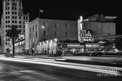 Mels Drive-in Photograph - Mel's Drive-in Black And White by Eddie Yerkish