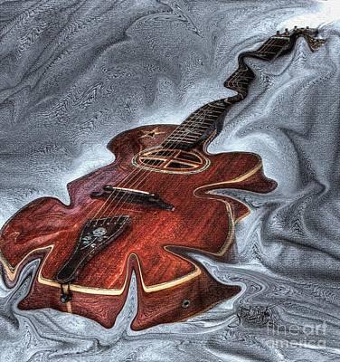 Melted Digital Guitar Art By Steven Langston Print by Steven Lebron Langston