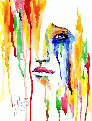 Woman Crying Painting - Melting Dreams by P J Lewis