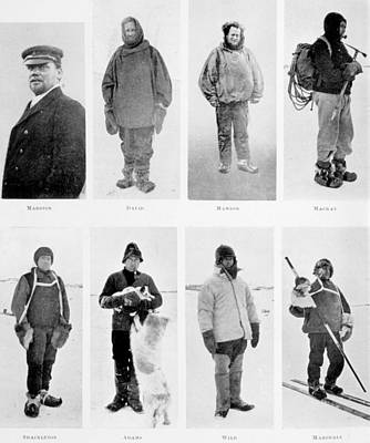 Members Of The British Antarctic Expedition At The Start Of The Journey Print by English School