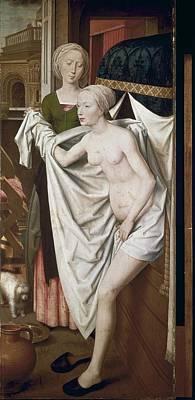 Memling, Hans 1433-1494. Bathsheba Print by Everett