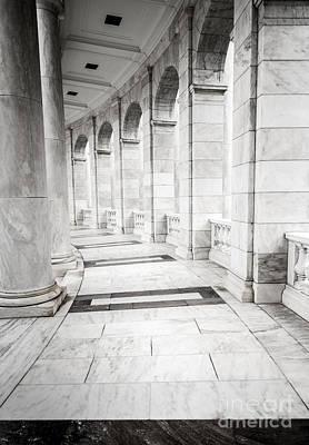 Marble Tomb-stones Photograph - Memorial Amphitheater Corridor - Arlington National Cemetery  by Gary Whitton