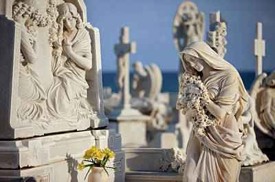 Memorial Angel At A Family Grave Plot Print by Brian Jannsen
