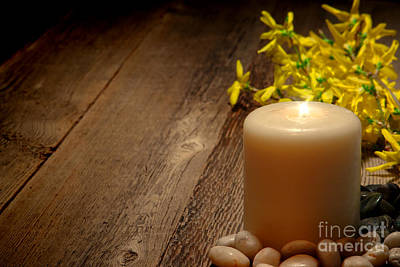 Forsythia Photograph - Memorial Candle by Olivier Le Queinec