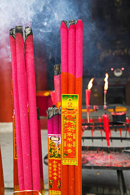 Incense Photograph - Memorial Incenses, Mingshan, Fengdu by Panoramic Images