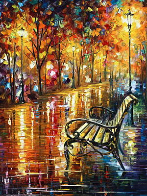 Park Benches Painting - Forgotten Dream by Leonid Afremov
