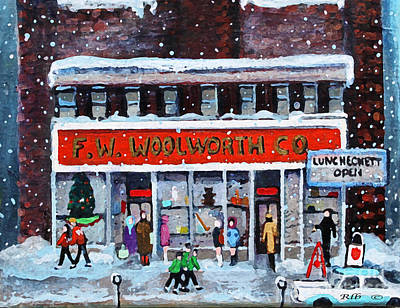 Waltham Painting - Memories Of Winter At Woolworth's by Rita Brown