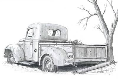 Classic Truck Drawing - Memories by Rick Bennett