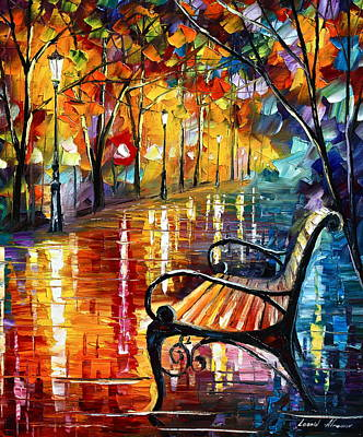 Park Benches Painting - Memories... Small Version by Leonid Afremov