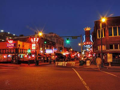 Sign Photograph - Memphis - Beale St. Twilight 001 by Lance Vaughn