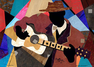 Lino-cut Painting - Memphis Blues by Everett Spruill