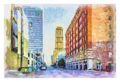 Watercolor Painting - Memphis City Street by Barry Jones