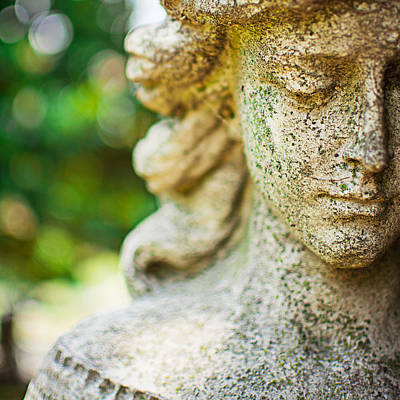 Memphis Elmwood Cemetery - Girl With Cross Square Print by Jon Woodhams