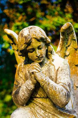 Memphis Elmwood Cemetery - Praying Angel Print by Jon Woodhams