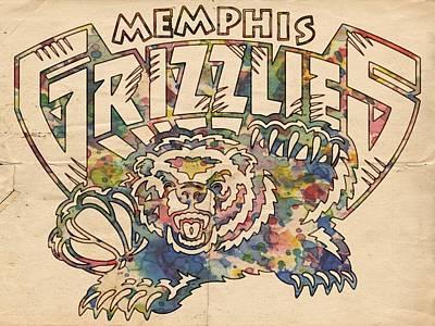 Basketball Painting - Memphis Grizzlies Poster Vintage by Florian Rodarte