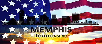 City Mixed Media - Memphis Tn Patriotic Large Cityscape by Angelina Vick