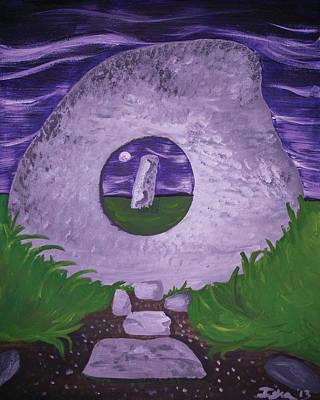 Megalith Painting - Men-an-tol   by Isha-Elisa Mariottini