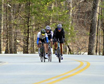 Men In A Bike Race Print by Susan Leggett